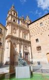 Salamanca - baroque portal La Clerecia - Pontifical University at dusk, Casa de las Conchas and memorial of Maestro F. Salinas Stock Photos