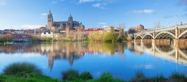 Salamanca - The Cathedral and bridge Puente Enrique Estevan Avda and the Rio Tormes river. Stock Photos
