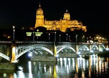 Salamanca cathedral night. Royalty Free Stock Images
