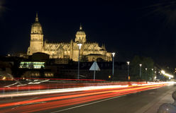 Salamanca cathedral at night Royalty Free Stock Images