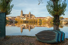 Salamanca Cathedral reflected in the Rio Tormes Royalty Free Stock Photo