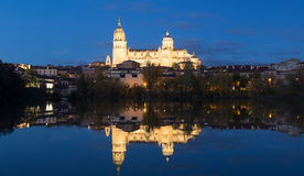 Salamanca Cathedral from Tormes River  in  night Royalty Free Stock Photography