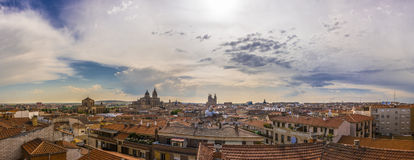 Salamanca cityscape panorama, with the Cathedral, the Pontifical University and Dominican monastery of San Esteban Royalty Free Stock Image