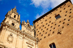 Salamanca Clerecia church and Casa Conchas Royalty Free Stock Photos