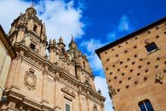 Salamanca Clerecia church and Casa Conchas Royalty Free Stock Photo