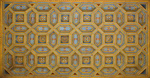 Salamanca - The coffered ceiling of staris to atrium Casa de las Conchas - House of Shells from 16. cent. Royalty Free Stock Image