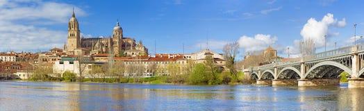 Salamanca - die Kathedrale und die Brücke Puente Enrique Estevan Avda und der Rio Tormes-Fluss Lizenzfreies Stockfoto