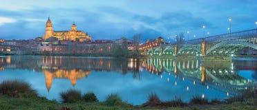 Salamanca - die Kathedrale und die Brücke Puente Enrique Estevan Avda und der Rio Tormes-Fluss an der Dämmerung Lizenzfreie Stockfotos