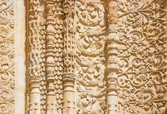 SALAMANCA, ESPAÑA, ABRIL - 17, 2016: El detalle de la decoración gótica al sur del portal de la catedral - Catedral Viej imagen de archivo libre de regalías