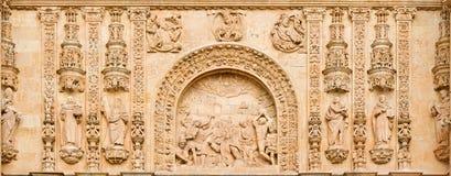 SALAMANCA, ESPANHA, 2016: O Lapidate de St Stephen como o detalhe do portal de Convento de San Esteban Fotografia de Stock Royalty Free