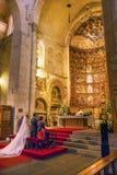Salamanca för forntida hus för absid för förbindelsebrud gammal domkyrka Spanien Royaltyfri Bild