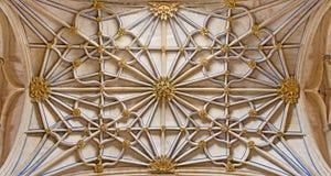 SALAMANCA, HISZPANIA, 2016: Gothic krypta boczny nave w Nowej katedrze & x28; Catedral Nueva& x29; Obraz Royalty Free