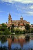 Salamanca-Kathedrale - Ansicht vom Fluss Lizenzfreie Stockbilder