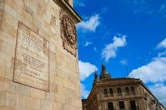 Salamanca minnesmärke till El Quijote av Cervantes Arkivfoton
