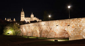 Salamanca at night, Castilla y Leon, Spain Stock Image