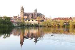 Salamanca over Tormes river and Cathedral, Spain Royalty Free Stock Photo