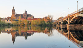 Salamanca over Tormes river and Cathedral, Spain Stock Photos