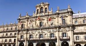 Salamanca Plaza Mayor. Salamanca City Hall is part of the Plaza Mayor built in Spanish baroque style between 1729 and 1755 Stock Photography
