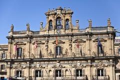 Salamanca Plaza Mayor. Salamanca City Hall is part of the Plaza Mayor built in Spanish baroque style between 1729 and 1755 Stock Image