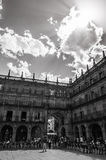 Salamanca. Plaza Mayor. One summer evening in the Plaza Mayor in Salamanca , under huge clouds that marked the arrival of the storm Stock Image