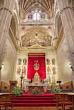 Salamanca - The sanctuary of New Cathedral Catedral Nueva with the statue of Assumption by Esteban de Rueda 1624. SALAMANCA, SPAIN, APRIL - 16, 2016: The Royalty Free Stock Image