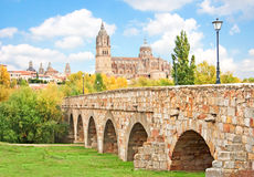 Salamanca skyline with New Cathedral and Roman bridge, Castilla y Leon region, Spain Stock Images