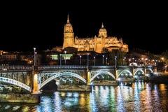 Salamanca skyline at night, Castilla y Leon region, Spain Stock Photos