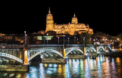 Salamanca skyline at night, Castilla y Leon region, Spain Stock Image