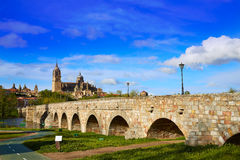 Salamanca skyline and roman bridge on Tormes Royalty Free Stock Image