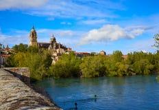 Salamanca skyline and roman bridge on Tormes Royalty Free Stock Photo
