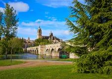 Salamanca skyline and roman bridge on Tormes Stock Image