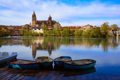Salamanca skyline with Tormes river Spain Stock Image