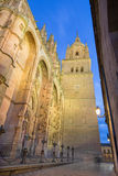Salamanca - The south gothic portal of Catedral Nueva - New Cathedral at dusk. Stock Photo