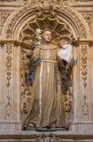 SALAMANCA, SPAGNA, 17 APRILE AL 2016: Altare laterale barrocco di St Anthony di Padova in chiesa Capilla de San Francesco Fotografia Stock