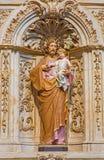 SALAMANCA, SPAGNA, 17 APRILE AL 2016: Dettaglio dell'altare laterale barrocco di St Joseph in chiesa Capilla de San Francesco Immagine Stock Libera da Diritti