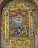 SALAMANCA, SPAGNA, 16 APRILE AL 2016: Il sollievo policromo barrocco scolpito della st Joachim, St Ann e Virgim Maria in nuova ca Fotografie Stock