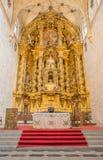 SALAMANCA, SPAGNA, 16 APRILE AL 2016: L'altare principale policromo barrocco della chiesa Convento de San Esteban da Jose Benito  Fotografia Stock Libera da Diritti