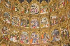 SALAMANCA, SPAGNA: Dettaglio dell'altare principale gotico di vecchia cattedrale (Catedral Vieja) da Dello e da Nicolas Delli Fotografie Stock