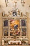 SALAMANCA, SPAGNA: Immacolata concezione della pittura di vergine Maria sull'altare principale di Convento de las Agustinas Immagine Stock Libera da Diritti