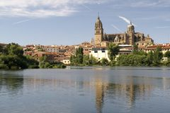 Salamanca, Spain. Evening View of Salamanca, Spain from across the Tormes River Stock Photo