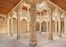 SALAMANCA, SPAIN, APRIL - 17, 2016: The atrium Casa de las Conchas - House of Shells Royalty Free Stock Photography