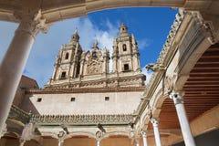 SALAMANCA, SPAIN, APRIL - 17, 2016: The atrium Casa de las Conchas - House of Shells and the towers of Pontifical University Royalty Free Stock Images