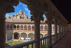 SALAMANCA, SPAIN, APRIL - 18, 2016: The atrium of Convento de las Duanas and the Cathedral Royalty Free Stock Photography
