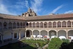 SALAMANCA, SPAIN, APRIL - 18, 2016: The atrium of Convento de las Duenas and the Cathedral Royalty Free Stock Image