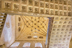 SALAMANCA, SPAIN, APRIL - 16, 2016: The gothic vault of stairs of monastery Convento de San Esteban Royalty Free Stock Photo
