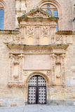 SALAMANCA, SPAIN, APRIL - 17, 2016: The plateresque - gothic portal of church Iglesia de Sancti Spiritus from 16. cent. With the medailons of st. Peter and Stock Photos