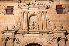 SALAMANCA, SPAIN, APRIL - 17, 2016: The renaissance - baroque plateresque portal of church Iglesia de San Marin 1586.  Stock Photos