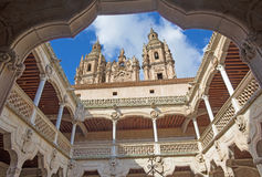 SALAMANCA, SPAIN: The atrium Casa de las Conchas - House of Shells and the towers of Pontifical University. Royalty Free Stock Photography