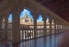 SALAMANCA, SPAIN, 2016: The atrium of Convento de las Duanas and the Cathedral. Royalty Free Stock Photos