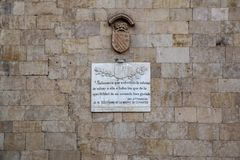 Salamanca, Spain; December 2018: fragment of a text written by Cervantes in a university building stock images